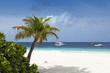 Boats on tropical white sand beach