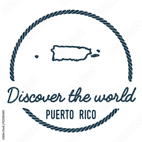 Puerto Rico Map Outline. Vintage Discover the World Rubber Stamp ...