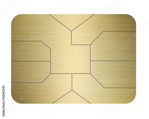 credit card chip gold isolated on white #122067245