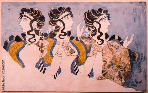 """Fotografie, Obraz  """"Ladies in Blue"""" fresco at Knossos Palace, minoan archaeological site in Crete,"""