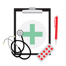 Clear Medical Form With Green Cross. Clipboard With Phonendoscope Isolated On White Background. Vector Illustration