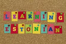Learning Estonian Word Written On Colorful Notes Pinned On Cork Board.
