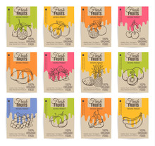 Hand Drawn Fruits Posters Set.
