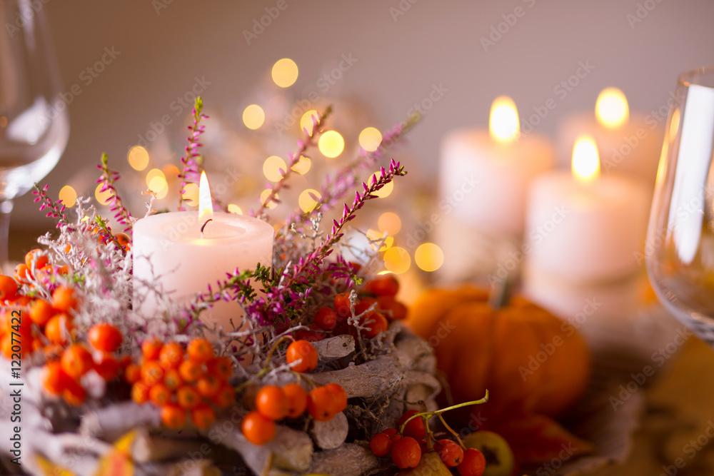 Fotografie, Obraz  Festlich gedeckter Tisch im Herbst