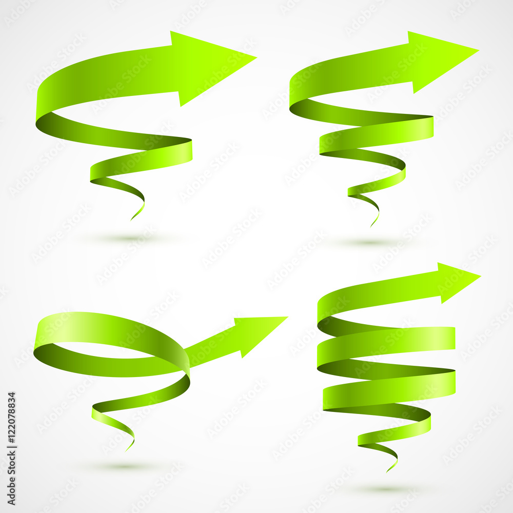 Fototapety, obrazy: Set of green spiral arrows