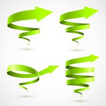 Set Of Green Spiral Arrows