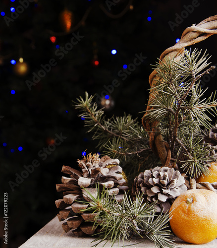 Photo Stands Akt Christmas decoration with fir branches