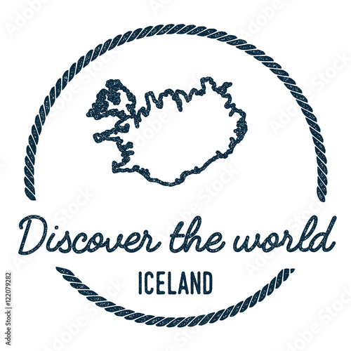 Iceland Map Outline. Vintage Discover the World Rubber Stamp ...