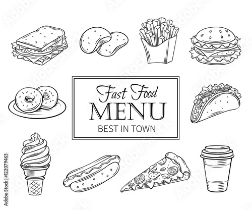 Valokuva  Vector hand drawn icons fast food.