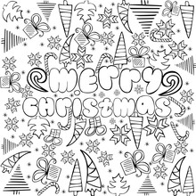 """""""Merry Christmas"""" Sign With Themed Doodle Sketchy Illustration. Anti Stress Coloring Page"""