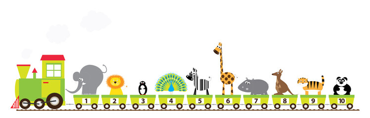 Cartoon train with numbers 1-10 and wild animals / educational vectors illustration