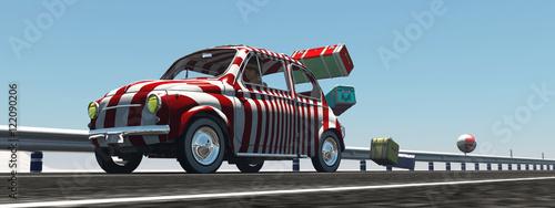 animowany-samochod-w-bialo-czerwona-zebre-ktoremu-spada-bagaz-z-dachu