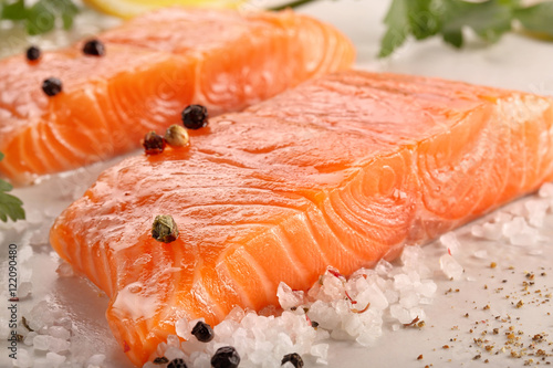 Canvas Prints Fish Fresh salmon with herbs and spices
