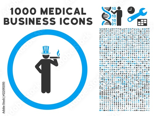 American Capitalist icon with 1000 medical commercial gray and blue vector design elements Poster