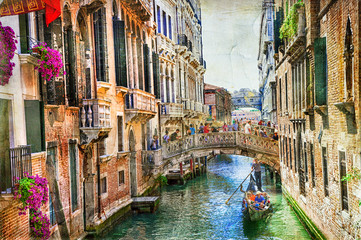 Fototapeta Wenecja Romantic Venice - canals and gondolas . artwork in painting style