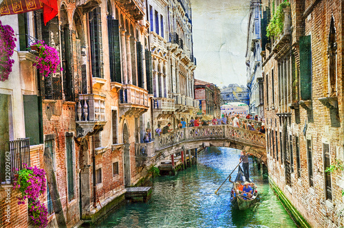 Stickers pour porte Venise Romantic Venice - canals and gondolas . artwork in painting style