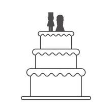Wedding Cake Icon. Marriage Love And Celebration Theme. Isolated Design. Vector Illustration