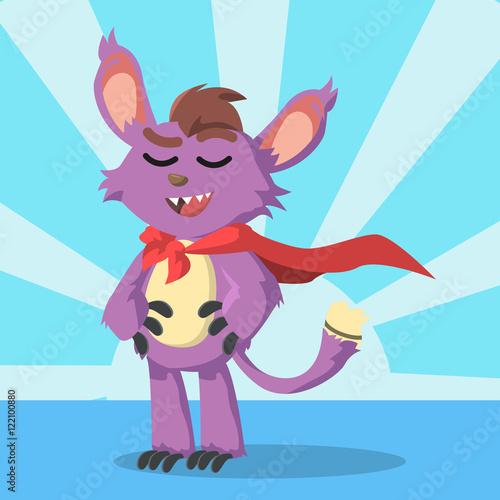 In de dag Indiërs small purple monster pretend to be super hero