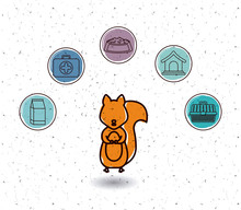 Squirrel And Icon Set. Animal Pet And Nature Theme. White And Texture Background. Vector Illustration