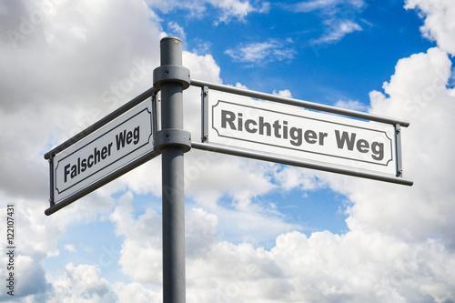 Fotografie, Obraz  Schild 162 - Richtiger Weg