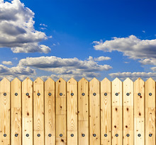 Wooden Fence Against Blue Sky ...