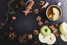 Frame Of Autumn Leaves, Chestnuts And Ingredients For Spiced Tea