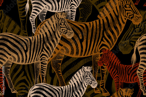 Seamless Vector Pattern With African Animals Colored Zebra On A