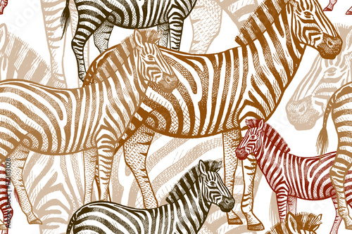 Cotton fabric Seamless vector pattern with African animals. Colored Zebra on a white background. Template to create fabric, Wallpaper, paper, textiles, curtains, design summer clothes in the style of Safari.