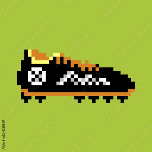 Cuadros en Lienzo Pixel football boot, pixel-art vector