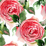 Seamless pattern with red Rose flowers - 122115611