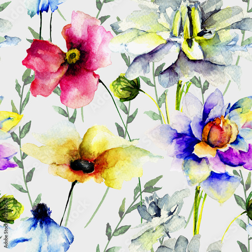 Cotton fabric Floral seamless wallpaper