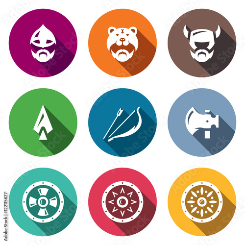 Photo  Vector Set of Viking Weapons Icons