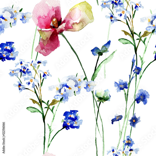 Fototapety, obrazy: Seamless pattern with wild flowers