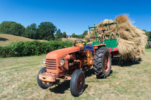Vintage Tractor With Hay