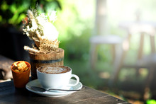 Hot Mocha Coffee Set In Garden With Relax Time In The Afternoon