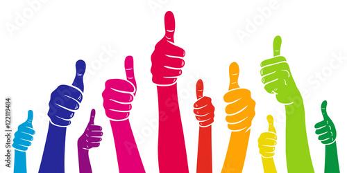 Fotografie, Obraz  Set: Viele Hände mit Daumen hoch in Regenbogenfarben / Vektor-Illustration, frei