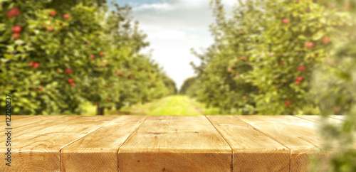 Foto apples and wooden table place