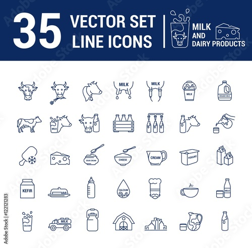 Set Vector Graphic Thin Outline Icons In Linear Design Element
