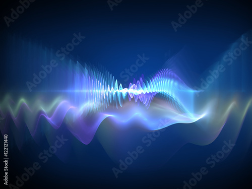 Poster Fractal waves Sound waves - abstract design element