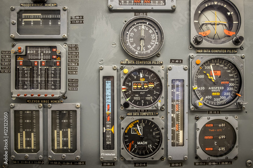 Fotografie, Obraz  Vintage airplane panel controls