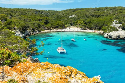 Cala Macarella beach at Menorca island, Spain Tableau sur Toile