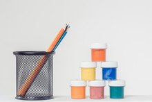 Pencils In Stand And Gouche