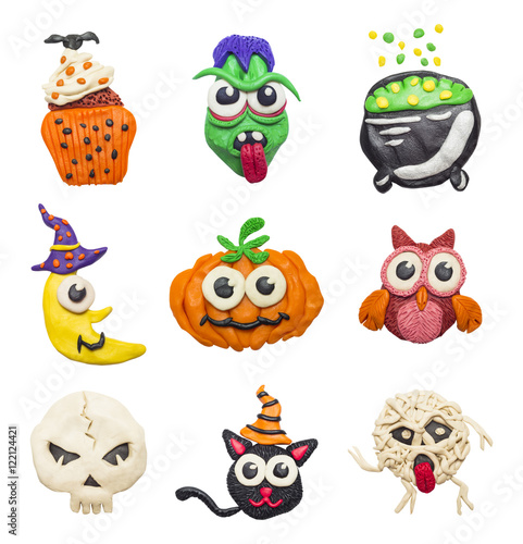 Canvas Prints A big set of colorful clay handmade elements for Halloween.