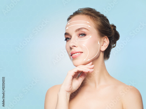 beautiful young woman touching her face Poster