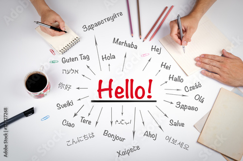Fotografie, Obraz  Hello word in different languages of the world. The meeting at t