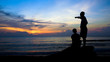 Man Teaching Boy, Silhouette on Beach During Colorful Island Sunset -
