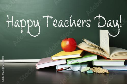 Fotografia  Teachers day concept. Text on chalkboard