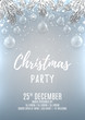 Christmas party flyer template. Elegant vector illustration with glass toys. Beautiful background with silver confetti and shining lights. Design of invitation to night club.