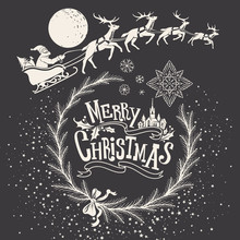 Christmas Hand-drawn Illustration With Ornamental Sign, Snowflakes And Deer Team