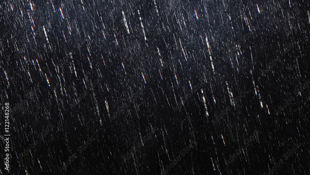 Fototapeta Falling raindrops footage animation in slow motion on dark black background with fog, lightened from top, rain animation with start and end, perfect for film, digital composition, projection mapping